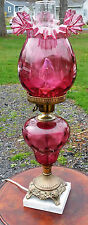 "RARE Gorgeous Fenton Art Glass Cranberry 22"" Ruffled Huricane Table Lamp MARBLE"