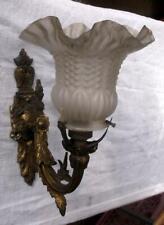 Original Antique French Bronze Wall Light + Glass Shade !
