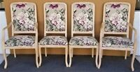Carved Blonde Solid Wood Chintz Roses Dining Chairs - Set of 4