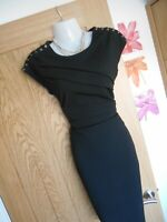 **STUNNING** LIPSY LONDON SIZE 12 BLACK PLEAT FRONT WIGGLE DRESS *FAST POSTAGE**