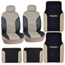 Two-Tone PU Leather Seat Covers Carpet/Vinyl Trim Floor Mats Black/Beige Tan Set