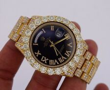 Unworn Rolex 41mm DayDate 2 Watch Black Face 14 Carats Huge Bezel 30 Ct Diamonds