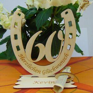 60. Geburtstag  Tischdeko Geldgeschenk Personalisiert Hufeisen Holz Gutschein