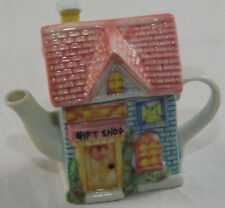 Novelty Teapot White Blue Pink Gift Shop Cottage Town House Collector Tea Pot