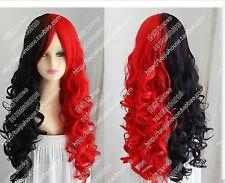 2018 Beautiful Harley Quinn wig Black red long curly wavy hair cosplay wigs