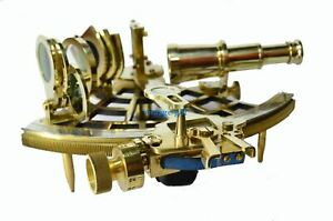 Nautical Brass Hand Made Henry Hughes Son L.T.D London  Sextant With Wooden Gift