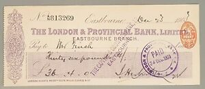 The London Provincial Branch Limited cheque - Eastbourne 1903, CHQ No. 813269