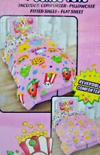Shopkins Twin 4 Piece Bed Set Reversible Comforter Fitted Flat Sheet Pillowcase