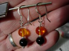 shungite and amber earrings 8 mm sterling silver
