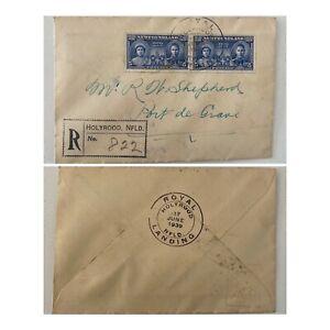 1939 5c Pair Regd Holyrood Royal Landing Newfoundland to Port de Grave NFLD