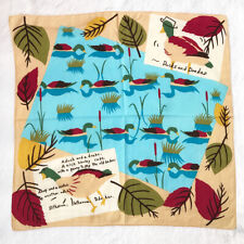 Ducks and Drakes Vintage Scarf Cotton Beige Print Ad Handkerchief Bandana Square