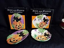 Lot of 2 Fitz and Floyd Essentials Canape&Snack Plate Jack-O-Lantern Halloween
