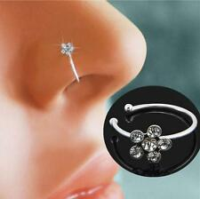 60x Crystal Rhinestone Nose Stud Ring Bone Stainless Steel Body Piercing Jewelry