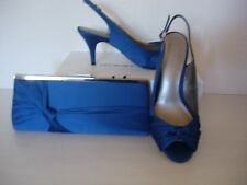 JACQUES VERT KNOT SLINGBACK SHOES & MATCHING BAG/-DARK BLUE  SIZE 4 -NEW