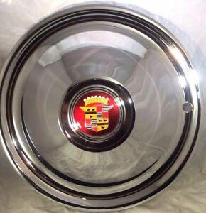 "(Set/4) 16"" Cadillac Sombrero Style Chrome Hubcaps - Hot Rod Custom"