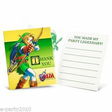 LEGEND OF ZELDA THANK YOU NOTES (8) ~ Birthday Party Supplies Invites Link Cards