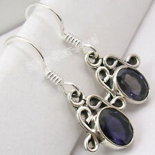 925 PURE Sterling Silver Real IOLITE FRENCH HOOK Lovely Earrings 1 1/8""