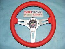FIAT 500 F/L/R VOLANTE SPORTIVO IN PELLE LUISI SHARAV R 31cm + CLACSON 3D ABARTH