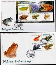 Philippines 2011 Endemic Philippine FROGS 4 values + S/S on 2 FDC