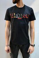 BLAUER - T Shirt Casual Slim Uomo Mezza Manica Nera Di Cotone Con Stampa 2020