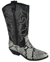 Soda Women Cowgirl Cowboy Western Stitched Boots Pointy Gray Python Black RENO-S
