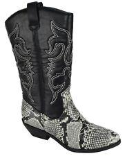 Soda Donna Cowgirl Cowboy Western Cucito Stivali a punta grigio pitone nero Reno-S