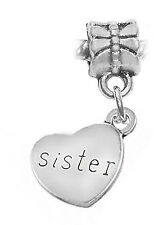 Sister Sideways Heart Word Gift Sibling Dangle Charm for European Bead Bracelet