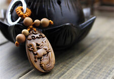 Wood Carving Chinese Zodiac Rabbit Statue Sculpture Pendant Key Chain