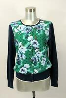 NWT LANDS END Green Blue Floral Cardigan Sweater Long Sleeve Cotton Knit SMALL