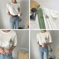 Fashion Casual Tee Shirt Blouse Women Fruit Embroidered Short Sleeve T-shirt