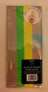 6 Piece Easter Wrap Pack.  4 Sheets Of Tissue Paper & 2 Of Cellophane