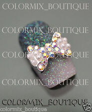 #CA097  Nail Art Decoration AlloyJewelry Slice AB Pearl Bow Glitter Rhinestone