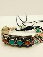 Macrame Nepali Tibetan Silver Bracelet Turquoise Coral Jewelry Nepal Boho Ethnic