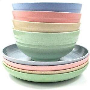 Camping Set of Bowls and Side Plates, Super Tough (mixed) 4 plates & 4 bowls