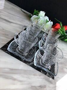Tea Coffee Serving Set Designer Glass Turkish Arabic 12pcs 6 Cups 6 Saucer 130ML