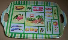 Plateau mélamine 28,5X44,5cm fruits et légumes, vert, jaune, rouge, bleu, blanc