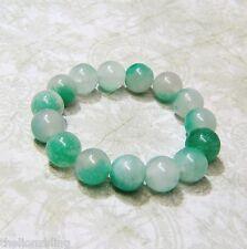 Green Jade Bead Stretch Bracelet Urban Bohemian hand carved marbled Sea