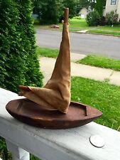 Antique Pond Boat Small Sailboat With Original Sail Authentic Folk Art Look!