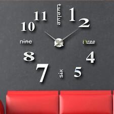 3D Design Wanduhr Deko Spiegel Edelstahl Uhr Wandtattoo Wand Uhr Groß XXL XL C10