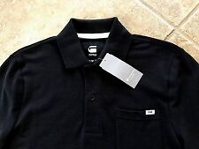 G Star Raw Pitro Slim Fit Polo Shirt w/Pocket Mens XL Black Cotton Pique NWT $80