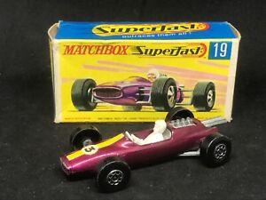 Matchbox MB19 A1 Lotus Racing Car (4 spiro wheels; no side labels) & Type G Box