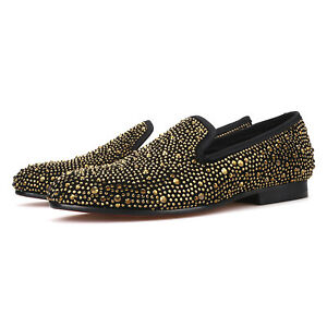 Merlutti Rhinestones Gold Crystals Suede Men's Loafers Prom Wedding Shoes