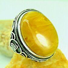 Turkish Handmade Jewelry 925 Sterling Silver Amber Stone Men Ring Sz 11