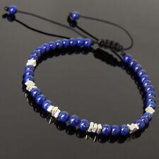 Men Women Braided Bracelet 4mm Lapis Lazuli 925 Sterling Silver Nugget Beads 950