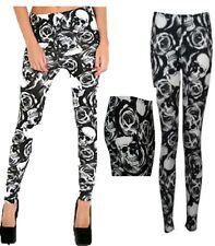 Girls Ladies Women Skull and Roses black&white Print Full Length Tight Leggings