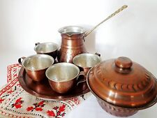 Vintage Turkish Coffee/Espresso Set of 8  Copper Kettle Hammered Jezve Cups Tray