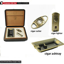Guevara Cigar Leather Cedar Accessories Set Travel Box Humidifier without cigars