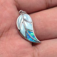 925 Sterling Silver Opal Natural Dominican Larimar Gemstones Necklace Pendant