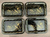 Vintage Set of Four Black and Gold Oriental Asian Bird Trays