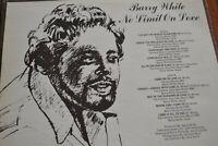 BARRY WHITE    NO LIMIT ON LOVE     LP VINYL     SUPREMACY   SUP 8002